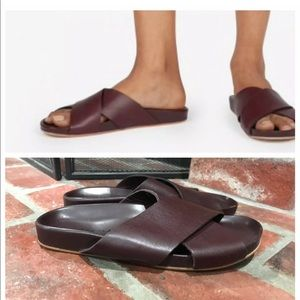 Everlane Burgundy Italian Leather The Form Sandals